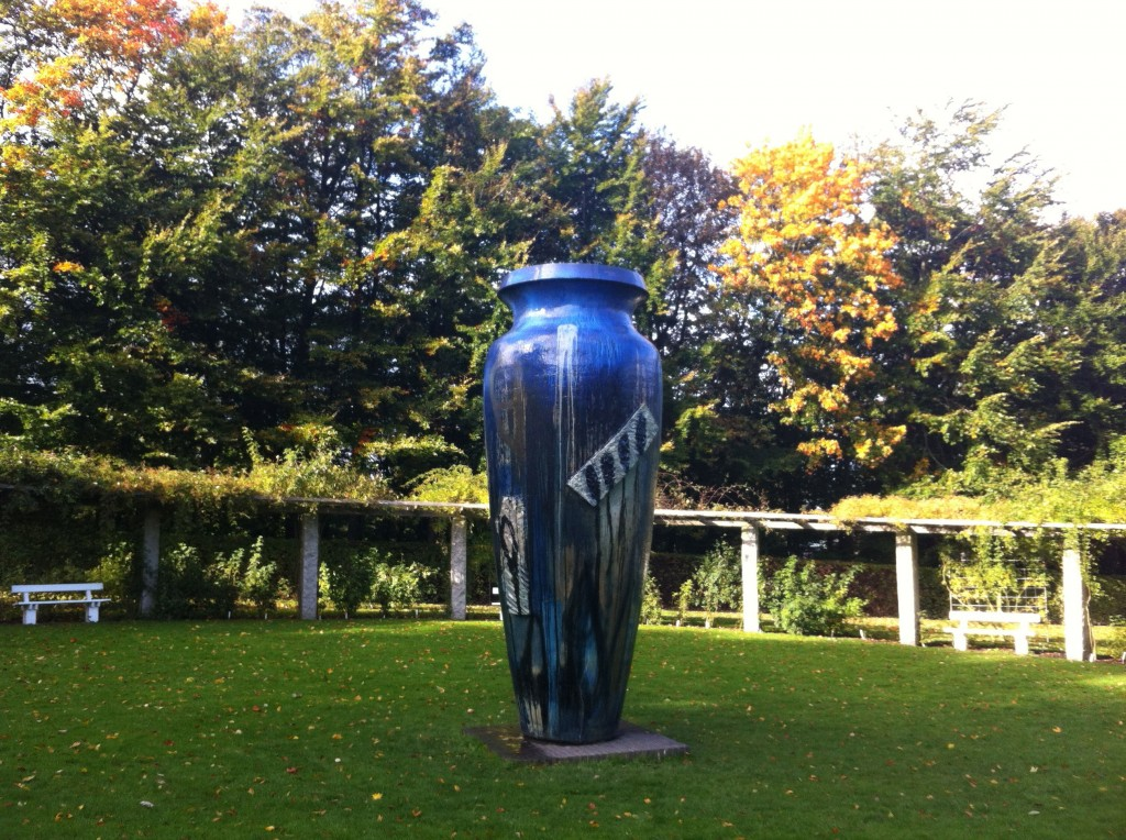 A big blue vase in the Marselisborg Palace park