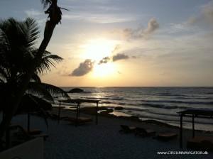 Sunrise at Tulum beach in Mexico