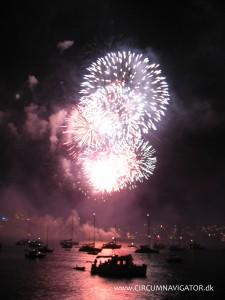Fireworks from island near Sydney Botanic Gardens