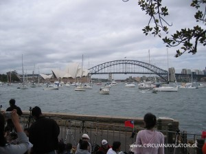 View from Botanic Gardens to Sydney Opera House and Harbour Bridge on New Year's