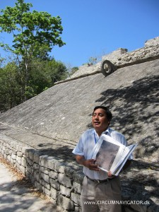 A Mayan gamecourt in Cobá