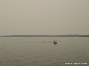 Lakes Entrance, Australia covered in smoke