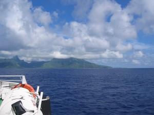 Sailing from Tahiti to Moorea
