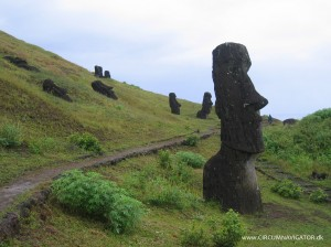 Moai at the volcano Rano Raraku on Easter Island