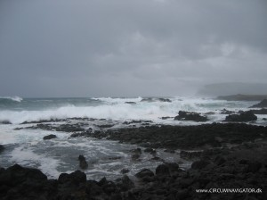 Stormy waves at Ahu Vaihu on Easter Island