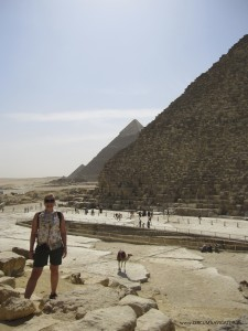 Circumnavigator Kirsten Hjorth Rasmussen at the Great Pyramids of Giza