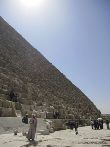 tourists at the Pyramid of Cheops Khufu in Egypt