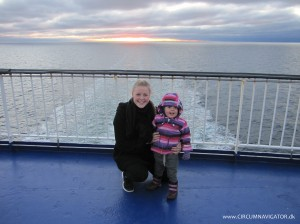 my nieces on the ferry from Denmark to Sweden